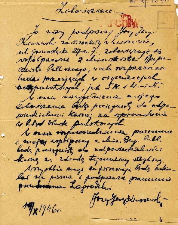 Zobowiązanie do współpracy Józefa Kessler vel Józefa Kruszewskiego