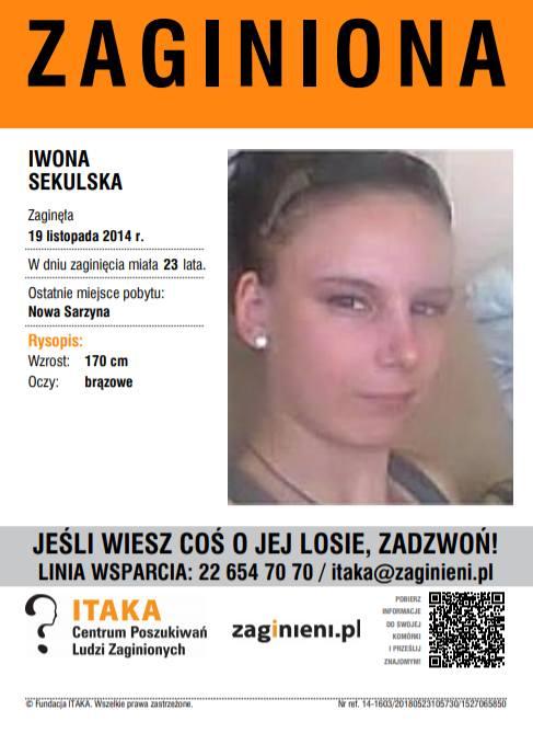 Czy widziałeś tę osobę lub masz jakieś informacje na jej temat? Jeśli tak, skontaktuj się z Fundacją ITAKA! Tel. 22 64 70 70 lub 116 000. Email: ita