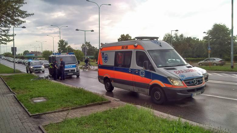 W wyniku wypadku na ul. Knyszyńskiej w Białymstoku do szpitala trafiła potrącona rowerzystka, która przejeżdżała przez ulicę po przejściu dla pieszy
