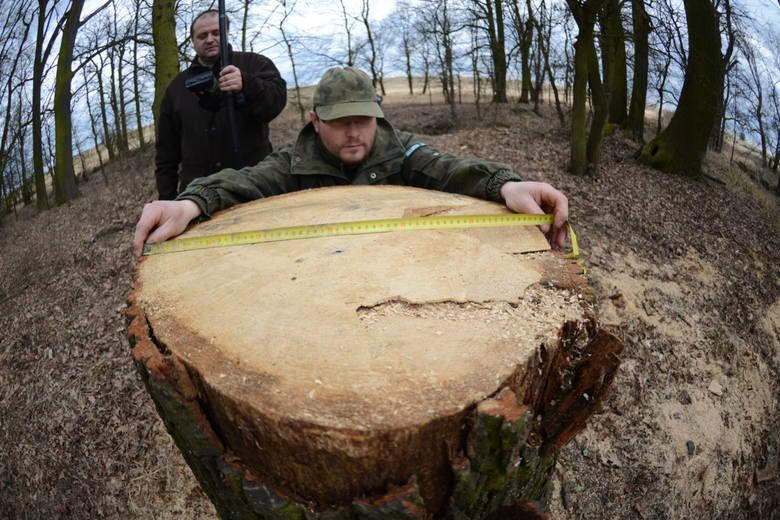 Podleśniczy Jakub Kiernożycki i Rafał Nowak starszy specjalista do spraw ochrony lasu i ochrony przeciwpożarowej