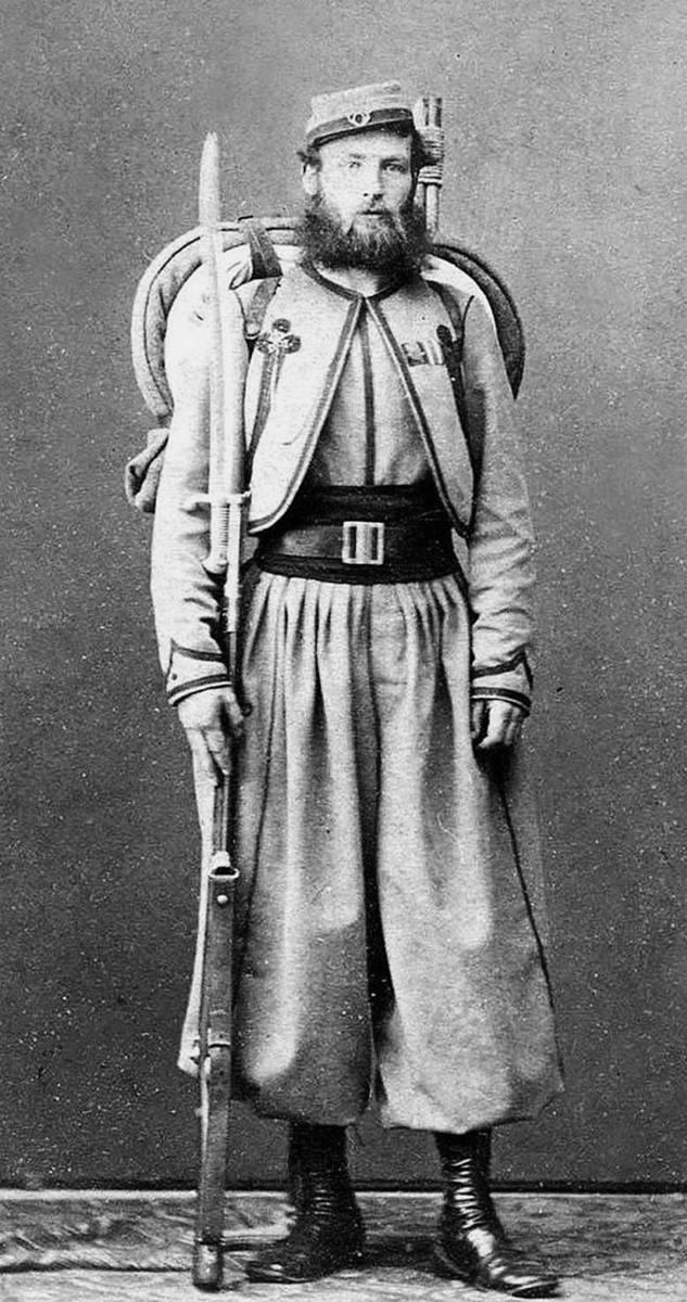 Żuaw papieski, około 1860 r. Żuawi papiescy byli międzynarodową jednostką ochotniczą wspierającą Watykan i Piusa IX w trakcie włoskiego Risorgimento.<br /> <br />