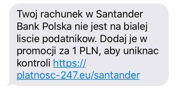 Santander Bank Polska ostrzega swoich klientów przed przestępcami, którzy wysyłają klientom SMS-y z fałszywą informacją.