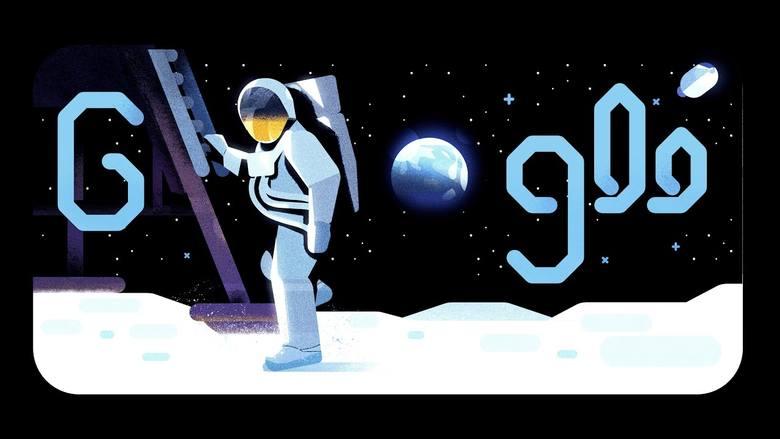 Google dało Doodle w piątek 19.07.2019. W ten sposób Google przypomina i celebruje 50. rocznicę lądowania na Księżycu.