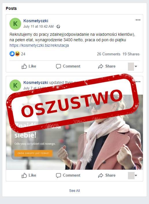 CERT Polska ostrzega także przed innym atakiem cybeprzestępców skierowanym w osoby poszukujące pracy. Różnymi kanałami (także przez Facebook) promowana