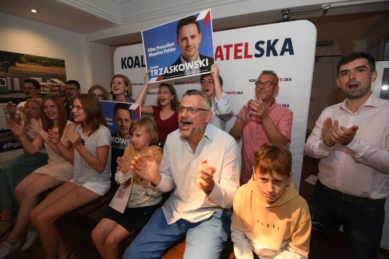 Wieczór wyborczy w sztabie Koalicji Obywatelskiej w Toruniu.