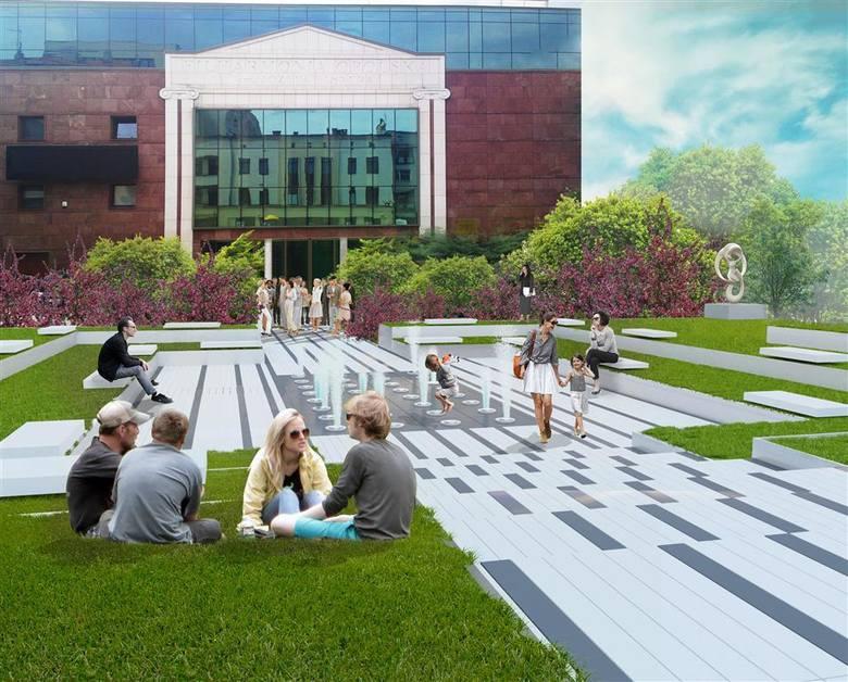 Koncepcja chorzowskiego biura zakłada, że na placu przed filharmonią powstanie jedna z dwóch nowych fontann.