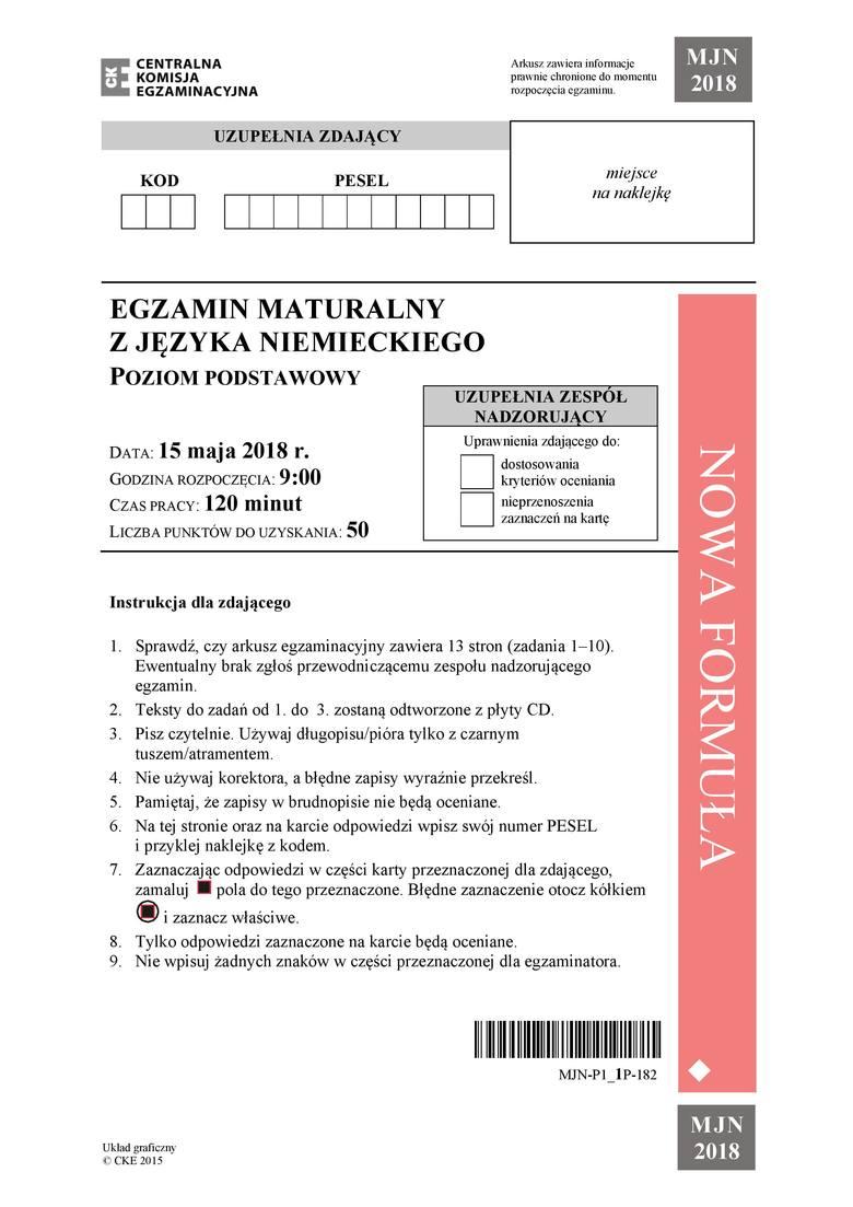 Za tegorocznymi maturzystami egzamin z języka niemieckiego. Zobacz arkusz i sugerowane odpowiedzi na pytania.