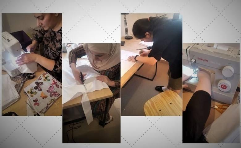 Członkinie pracowni artystyczno-rzemieślniczej szyją maseczki dla PCK
