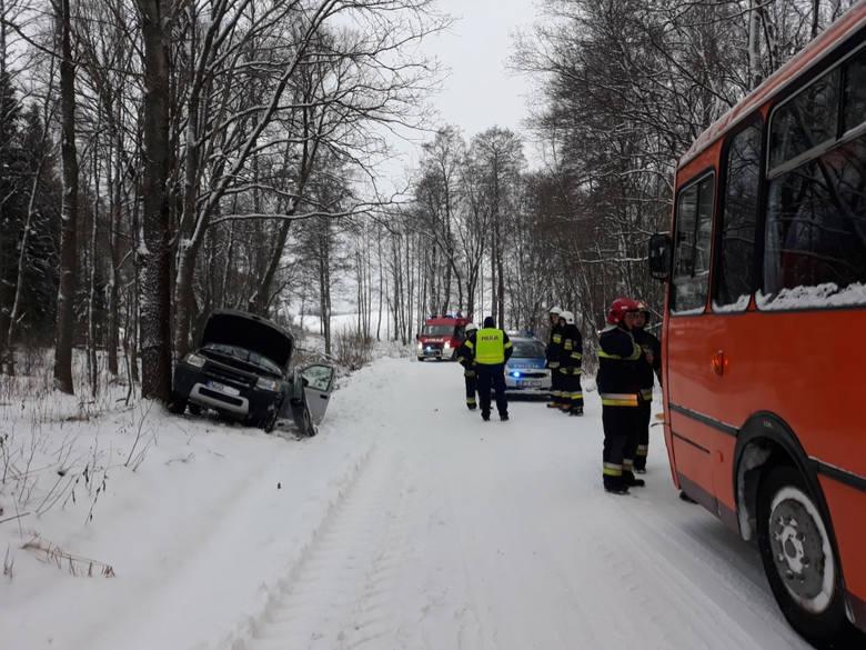 Na miejscu okazało się, że pojazd, którym podróżował tylko kierowca uderzył w przydrożne drzewo. Kierowca doznało urazu głowy, który strażacy opatrzyli