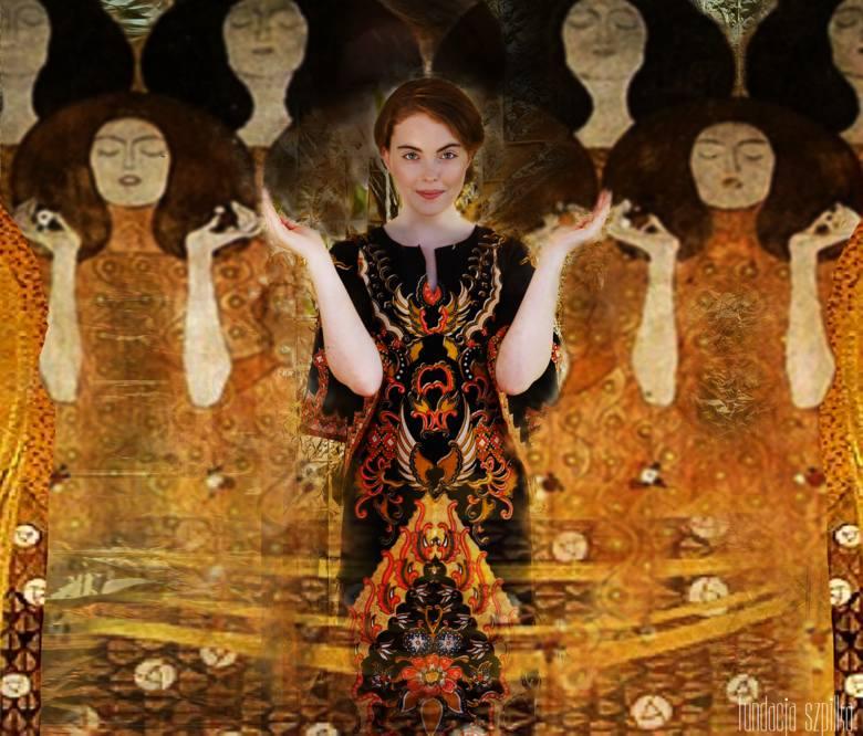"""Krystyna Kobiałka w zdjęciu inspirowanym obrazem """"Fryz Beethovena"""" Gustawa Klimta."""
