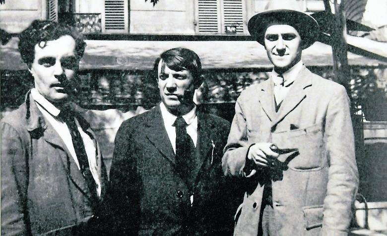 Od lewej: Modigliani, Picasso i André Salmon w La Rotonde, rok 1916