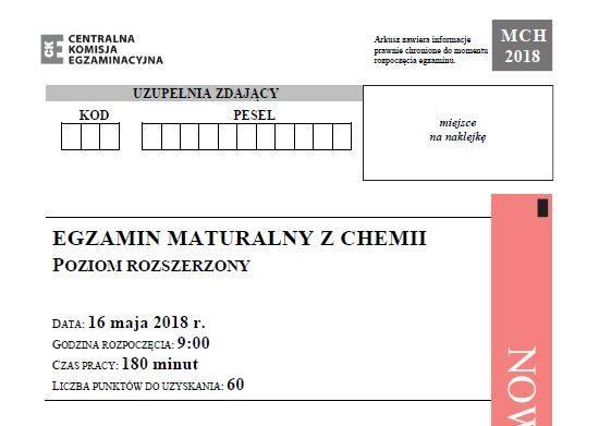 Matura 2018 - chemia, poziom rozszerzony - arkusze i odpowiedzi [16.05.2018]