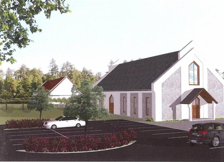 Tak wygląda na wizualizacji kaplica. Powstanie w miejscu dzisiejszej zrujnowanej stodoły. Aktualnie w Pawłowicach nie ma kościoła ani kaplicy. Za kaplicą