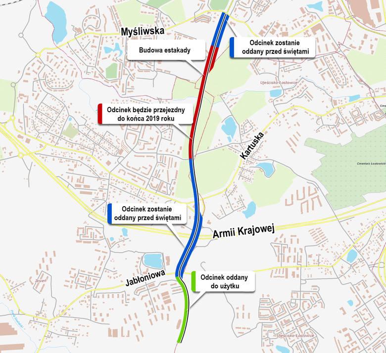 Dwa drogowe odcinki budowanej w Gdańsku trasy Nowej Bulońskiej Północnej mają zostać udostępnione dla ruchu przed Bożym Narodzeniem