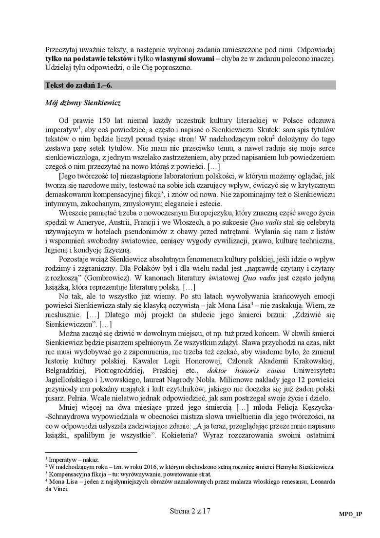 matura z polskiego 2017