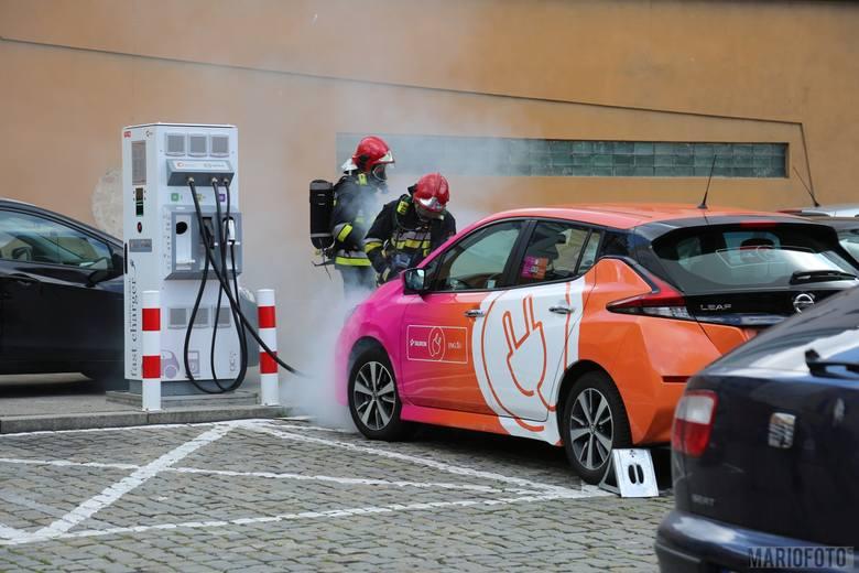 Podczas ładowania samochodu elektrycznego podłączonego do stacji na pl. Wolności w Opolu doszło do zwarcia i pożaru - to podstawa scenariusza ćwiczeń