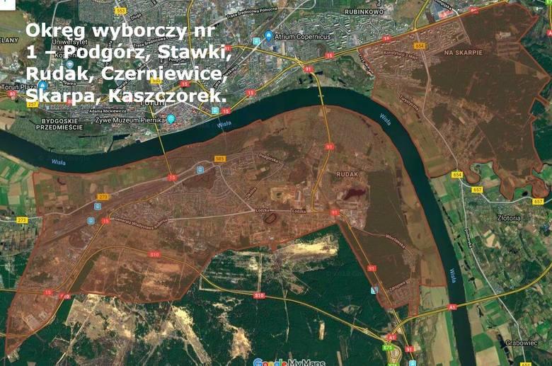 Okręg wyborczy nr 1 – Podgórz, Stawki, Rudak, Czerniewice, Skarpa, Kaszczorek.W tym okręgu wybranych zostanie 7 radnych. Kandyduje łącznie 59 osób w