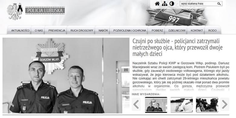 Strony internetowe lubuskiej policji na znak żałoby po zmarłym policjancie zmieniły barwy na czarno-białe.