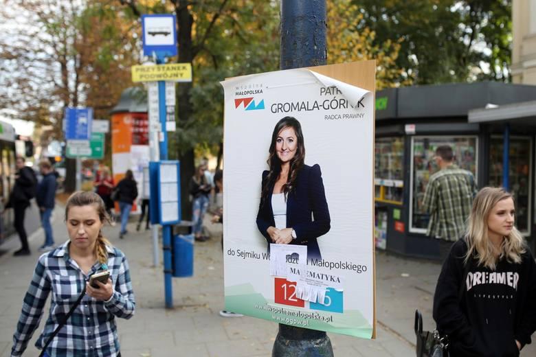 Plakaty wyborcze podczas samorządowej kampanii wyborczej jesienią 2018