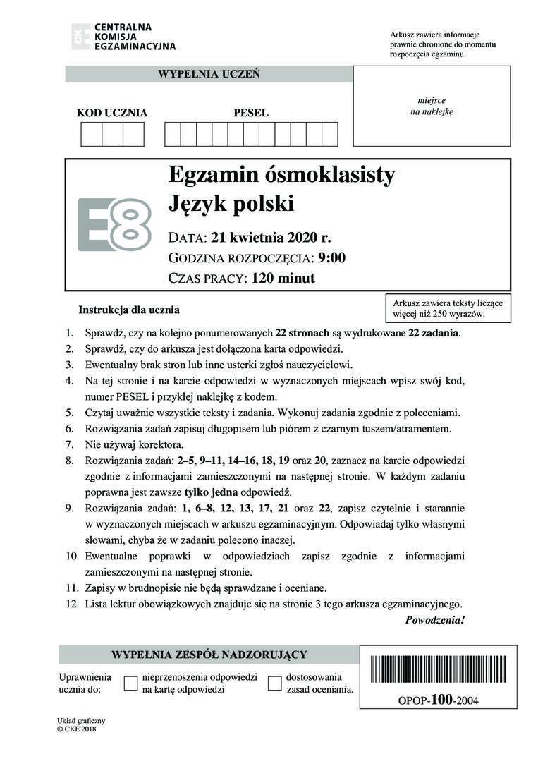 Egzamin ósmoklasisty - język polski: Odpowiedzi i arkusz z zadaniami znajdziesz na kolejnych stronach galerii. Uwaga, nasi eksperci będą dodawać odpowiedzi