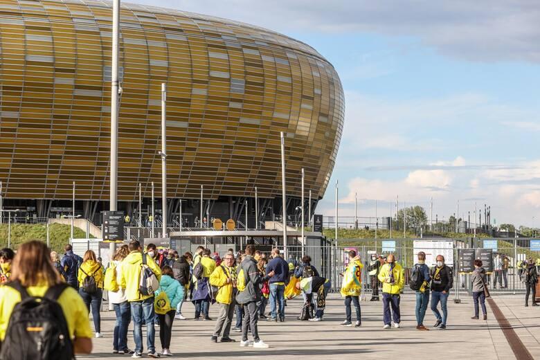 Fani Manchesteru United i Villarrealu w Gdańsku w środę, 26.05.2021 r.