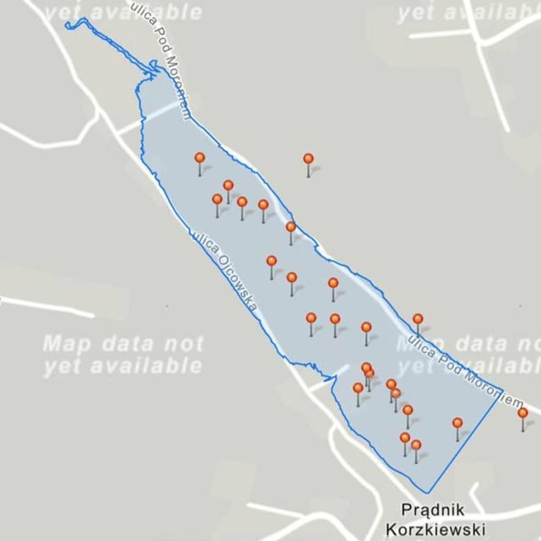 Obszar Doliny Prądnika, który miałby się stać zbiornikiem retencyjnym