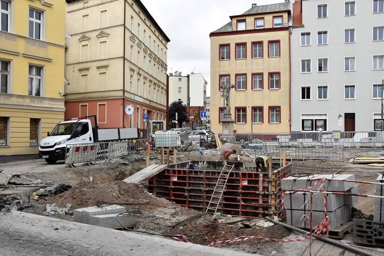 Budowa fontanny na pl. św. Sebastiana w Opolu.