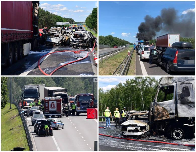 Wypadek na S3, spłonęły auta, sześć ofiar śmiertelnych.