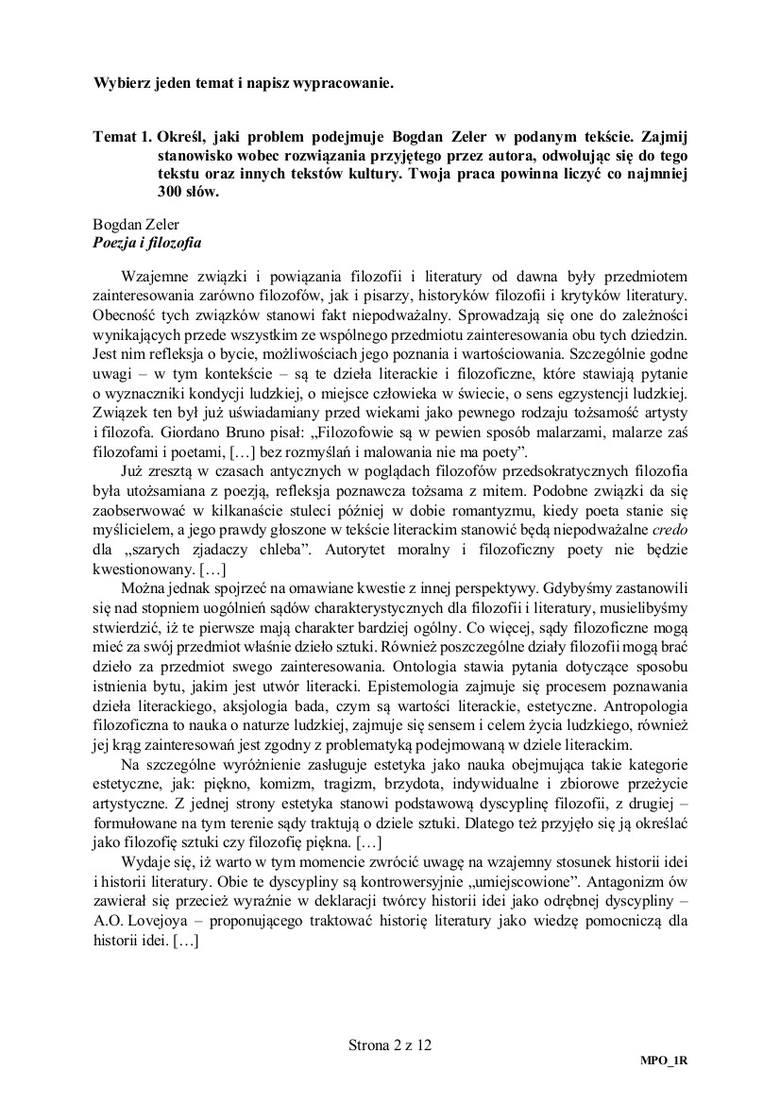 Matura 2018 Polski Rozszerzony Rozwiązane Arkusze Cke