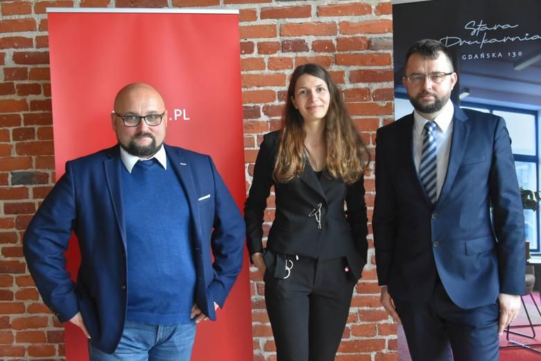 Od lewej: prezes Rise.pl Piotr Augustyn, prezes zarządy Starej Drukarni Marta Zgłobicka i Robert Jarząbek z ChilliSpaces.com.