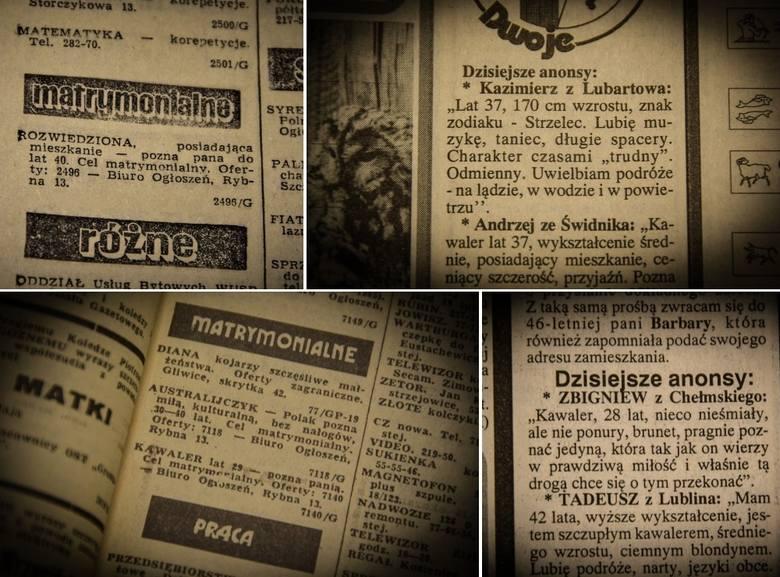 """Ogłoszenia matrymonialne z dawnych lat w Lublinie. """"Szczupły, wysoki i bez grosza"""" pozna """"zgrabną i miłą"""" (AUTENTYCZNE ANONSE Z"""