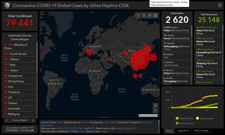 Mapa zasięgu epidemii chińskiego koronawirusa COVID-19 (poniedziałek 24.02.20)