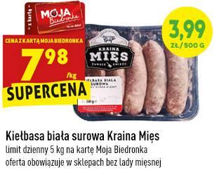 BiedronkaKiełbasa biała surowa Kraina Mięslimit dzienny 5 kg na kartę Moja BiedronkaOferta obowiązuje w sklepach bez lady mięsnej7,98 zł za 1 kg (cena