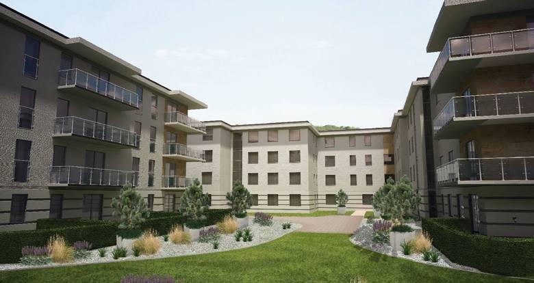 """Tak wygląda na wizualizacji nowoczesne osiedle """"Apartamenty Witosa"""" w Kielcach, w którym znajduje się  wygodne mieszkanie - nagroda w loterii Echa Dnia - """"Mieszkanie za czytanie"""". Osiedle znajduje się w bliskim sąsiedztwie urokliwych terenów zielonych i doliny Silnicy.<br /> <br />"""