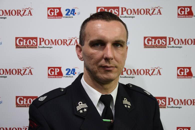 Piotr Basarab, komendnat OSP Potęgowo.
