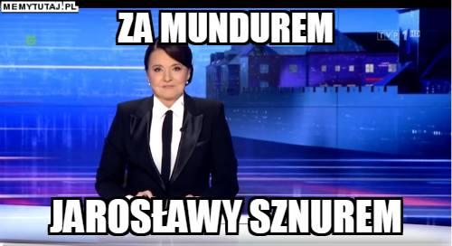 Danuta Holecka wystąpiła w garniturze łudząco podobnym do tego, w którym chodzi Jarosław Kaczyński