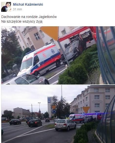 Dachowanie na rondzie Jagiellonów w Bydgoszczy. Poszkodowani mężczyzna i dzieci