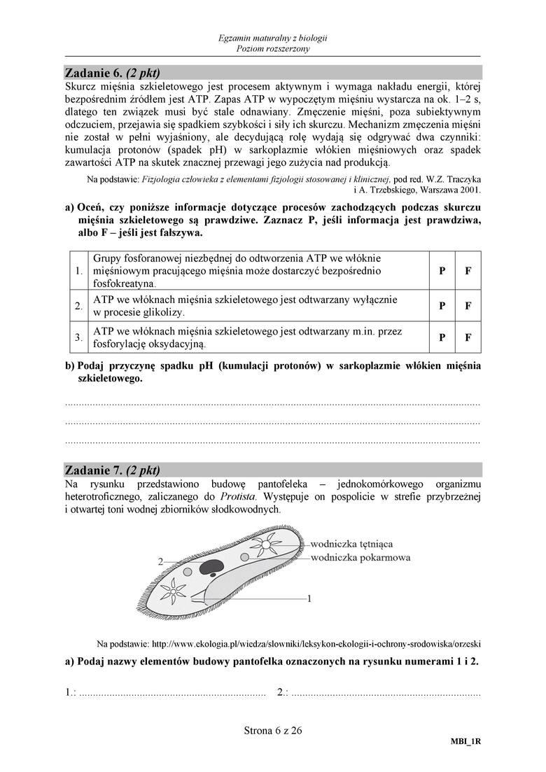 matura rozszerzona z biologii 2011
