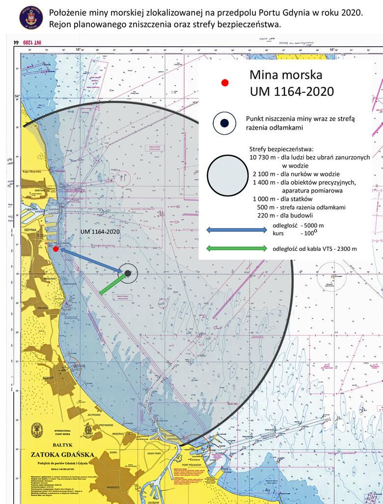 Mapa – Rejon planowanego zniszczenia oraz strefy bezpieczeństwa