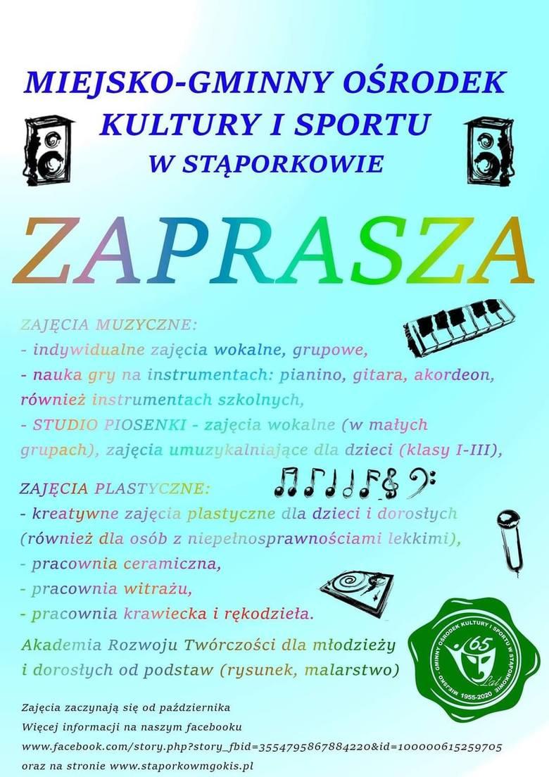 Miejsko-Gminny Ośrodek Kultury i Sportu w Stąporkowie wznawia działalność. Sprawdźcie w jakich zajęciach możecie wziąć udział