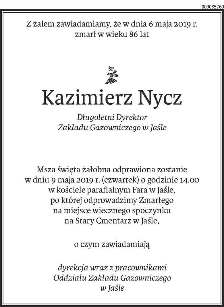 Nekrologi i kondolencje z dnia 8 maja 2019 roku