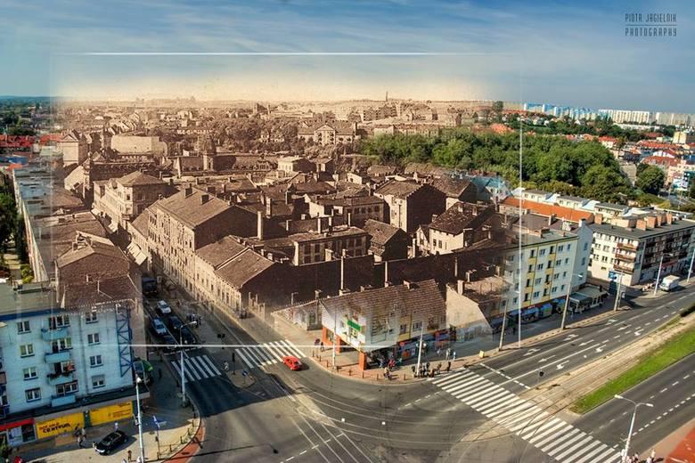 """Piękny fotomontaż pokazujący skrzyżowanie ul. Chrobrego i SIkorskiego. Więcej takich  znajdziecie na facebookowym profilu """"Kiedyś i dziś - połączyć historię z teraźniejszością"""""""