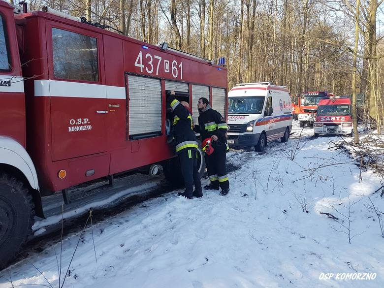 Na miejscu wypadku lądował śmigłowiec Lotniczego Pogotowia Ratunkowego. Ranny mężczyzna trafił do USK w Opolu.