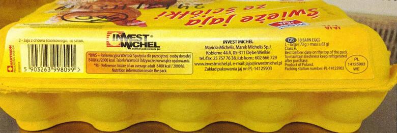 Szczegóły dotyczące produktu:Produkt – Świeże jaja ze ściółki, klasa A, kategoria wagowa L-Duże, 10 szt.Najlepiej spożyć przed: 24/06/2021Kod na skorupkach