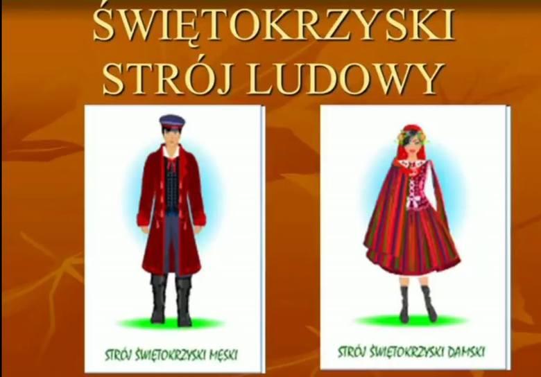 Zobaczcie świętokrzyskie stroje ludowe tak, jak je widzą dzieci z Brodów. Prace plastyczne przedstawiające świętokrzyski strój ludowy wykonały dzieci