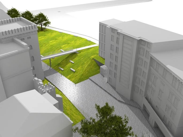 Teren pomiędzy Solarisem a wieżą będzie ukształtowany za pomocą skarp i urządzony jako duży, trawiasty skwer z ławkami wykonanymi z betonu i drewna. Niestety znikną obecne drzewa.