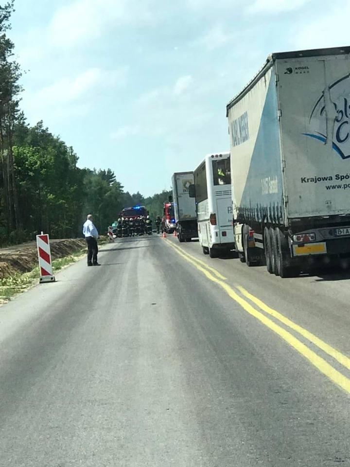 Na czas akcji droga była zablokowana