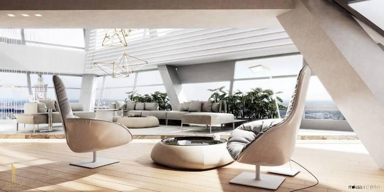 """Wieżowiec Złota 44 zwany """"Żaglem Libeskinda"""" składa się z luksusowych apartamentów. Właśnie sprzedano najdroższy z nich, trzypiętrowy"""