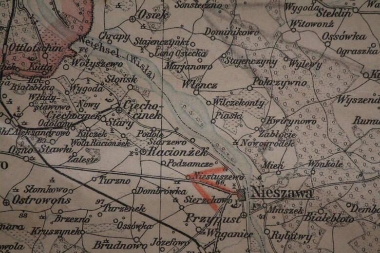 Rejon Nieszawy i Ciechocinka na mapie z 1902 roku