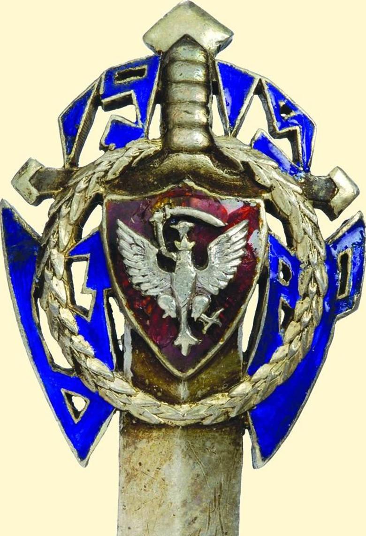 Odznaka w kształcie miecza, z czerwoną tarczą i orłem na głowni